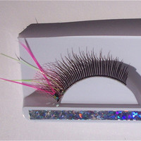Hot Pink Tulle Glow In the Dark Kawaii Feather Eyelashes