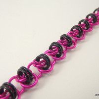 Pink And Black Aluminum Chainmail Bracelet by JSWMetalWorks