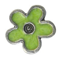 2 Danforth Lime Flower Pewter Metal Shank Button 3/4 inch ( 20 mm )