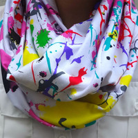 Infinity scarf - paint splatter scarf - graffiti print - hipster - fashion scarf