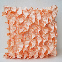 Peach Satin Ruffle Pillow - Decorative pillow - Ruffle throw pillow - Ruffle throw cushion - ruffle 16X16