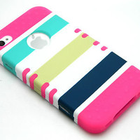For iPhone 4 4S Rocker Pink Skin Navy Green Stripes Armor Hybrid Hard Cover Case