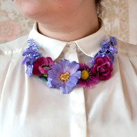 Handmade purple and fuscia floral necklace - Roses, daisies, lavender, poppies - Summer jewelry