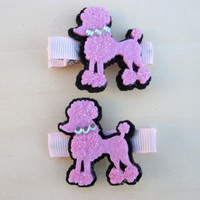 Hair Clips, Girls Poodle Hair Clips, Set of 2, Infant Clippies, Baby Hair Clips