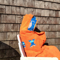 Boy Gift Personalized Hooded Towel Orange Decorative Shark Fabric Pool Bath Beach Kids Children Easter Gift Birthday Christmas