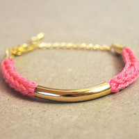 Pink knit bracelet with gold bar, cotton i-cord bracelet, stacking bracelet with gold tube