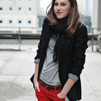 "Style Inspiration, Fall/Winter / Blazer From Vintage, Girlfriend's Red Jeans From Bershka // ""These red jeans ar"