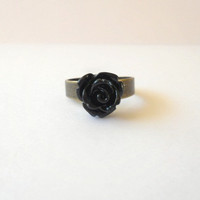 LAST CHANCE SALE - Pretty Black Rose Ring on Antique Brass