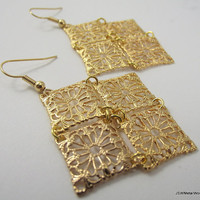 Medium Golden Chandelier Earrings Statement Gold by JSWMetalWorks
