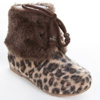 Infant Leopard Lace up Fur Cuff Ankle Furry Boot Bootie