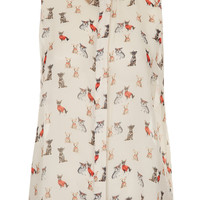 Puppy Print Collar Tip Shirt - Tops - Clothing - Topshop