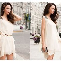 Vixen Boutique — Sleeveless Beaded Chiffon Casual Dress