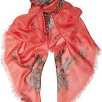 Alexander McQueen|Printed modal and cashmere-blend scarf|NET-A-PORTER.COM