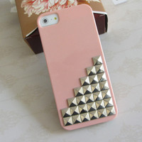 Iphone 5 case, silver stud studs studded iphone case, Pink Hard Cover Iphone 5 Case