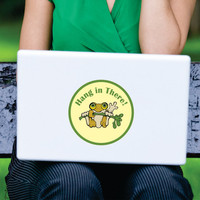 Hang in There Frog 5 inch Round Printed Decal Sticker for Laptop or Wall