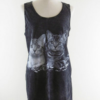 Love Kitten Cat Shirt -- Cute Cat T-Shirt Kitten Shirt Bleach Black Shirt Women Tank Top Tunic Vest Sleeveless Singlet Women Shirt Size M