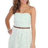 strapless lace fit and flare casual dress with belt - debshops.com