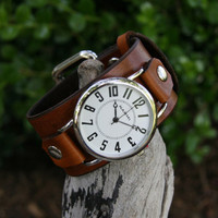 Big and Bold Deep Brown Leather Watch for Men and Women