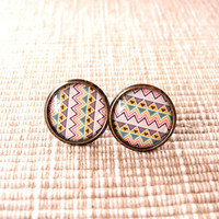 Aztec Print Earring Studs - Geometric Tribal Earrings Posts - Southwestern Jewelry - Native American