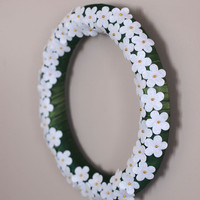Spring Wreath Cherry Blossom White Felt Irish Green Ribbon 14 inch