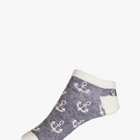 Striped Anchor Ankle Socks