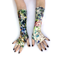 Summer Hill Fingerless gloves, mittens, arm warmers - vintage, stempunk, goth, victorian, , floral, multicolour, Yoga Lolita , Bohemian