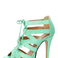 Fiebiger Mint4Me Mint Green Lace-Up Cutout Platform Heels