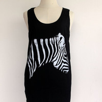 Zebra Head Tank Top - Women t-shirt tank top Tunic Unisex Shirt Vest Women Sleeveless Singlet Black T-Shirt Size M L.