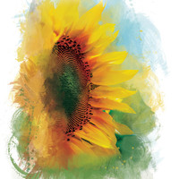 Abstract Flower Art Print Sunflower Print by lindsayleedesign