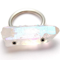 opal aura quartz ring [crystal ring] / Stone & Honey