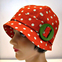 1920s Cloche in Clay Polka Dot Linen with by bonniesknitting