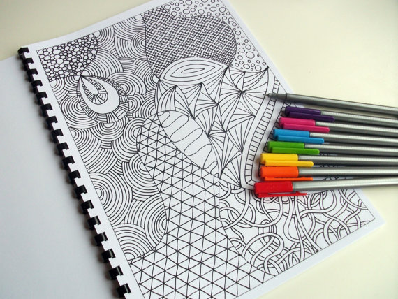 Printable Coloring Book 12 Intricate Zentangle by JoArtyJo on Etsy