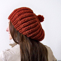 Slouchy Beanie in Pumpkin - Slouchy Hat - Pom Pom Hat - Knit Beanie Hat - Winter Hat - Mens Hat - Womens Hat - Chunky Hat