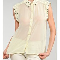 Studded Asymmetric Button Down Shirt  Tanny&#x27;s Couture LLC