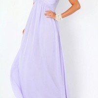 Lavender Strapless Maxi Dress with Gathered Sweetheart Top