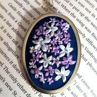 Lavender and White Flower Pendant  Silk by BeanTownEmbroidery