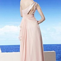 Sheena in Pink Asymmetric Chiffon Bridesmaid Dress