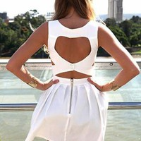 White Heart Cutout Dress with Fitted Bodice & Pleated Skirt