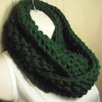 Dark Hunter Green Cowl Infinity Circle Scarf Neckwarmer