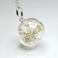 White dried baby's breath flower blown glass ball by thestudio8