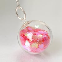 Pink heart glitter blown glass ball sterling silver by thestudio8