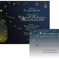 Mason Jar Fireflies Wedding Invitation And RSVP Printable Digital | Luulla
