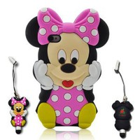 Minnie Mouse Case Cover With a mini Minnie Stylus Pen for Apple iPhone 4 4S