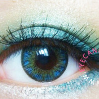 NEO Shimmer Aqua - Circle Lens Color Contacts | EyeCandy's