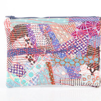 upcycled  Crazy Patchwork zipper pouch - Recycled  Pencil Case- Colorful scraps from the studio With Navy blue zipper - TIMO Handmade