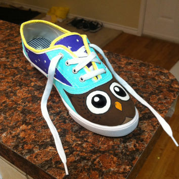 Customizable Hand Painted Owl Shoes by twentyfifthandgrey on Etsy