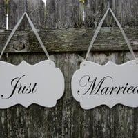 "Wedding Signs, Double Sided Hand Painted Wooden Shabby Chic Decoration Signs, ""Mr."" / ""Mrs"". ""Just""/ ""Married""  Wedding Chair Signs"