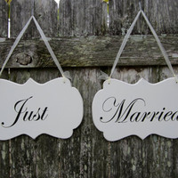 Wedding Signs, Double Sided Hand Painted Wooden Shabby Chic Decoration Signs, &quot;Mr.&quot; / &quot;Mrs&quot;. &quot;Just&quot;/ &quot;Married&quot;  Wedding Chair Signs