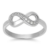 Amazon.com: FBAS-0005 Sterling Silver Infinity Ring With CZ; Comes With Free Gift Box: Jewelry