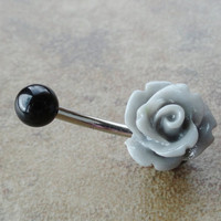 Charcoal Grey Rose Flower Belly Button Jewelry Ring Rose Bud